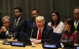 トランプ米大統領は昨年9月、国連本部で行った演説で、中国当局は米中間選挙に介入していると述べた(Spencer Platt/Getty Images)