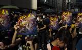 香港で7月28日に行われたデモで、市民は21日に起きた襲撃事件に抗議した(Billy H.C.Kwok/Getty Images)