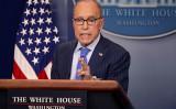 2018年6月6日、ホワイトハウスで記者会見に臨んだラリー・クドロー国家経済会議(NEC)委員長(Getty Images)