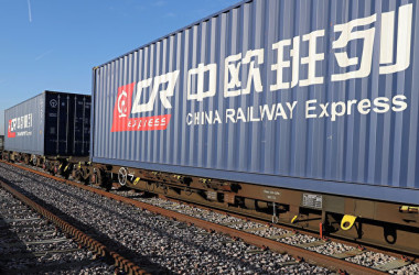 中国と欧州各地を結ぶ中国の国際貨物鉄道、中欧班列(チャイナ・レールウェイ・エクスプレス)(Getty Images)