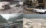 中国四川省汶川県ではこのほど豪雨に見舞われ、洪水と土石流が発生した(スクリーンショット)