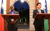 2019年9月、台湾の呉外交部長とソロモン諸島政府外相は台北で共同記者会見を開いた(GettyImages)