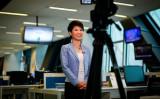 中国官製メディアCGTNの看板アンカー・劉欣氏 参考写真(WANG ZHAO/AFP/Getty Images)