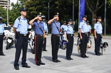 2019年7月、上海で共同訓練するイタリア警察と中国警察。参考写真(GettyImages)
