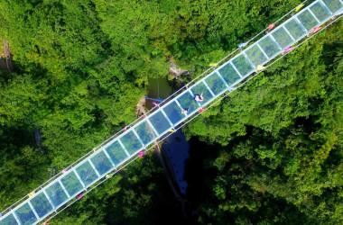 写真は中国広西省石門湖で建設されたガラス張りの橋。2018年に撮影されたもの。(AFP/Getty Images)