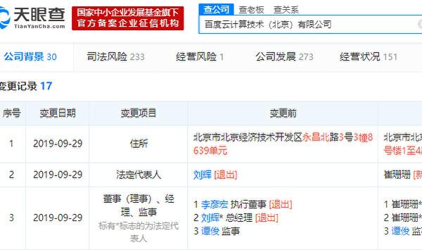 中国企業情報サイト「天眼査」によると、検索エンジン大手「百度」創業者の李彦宏氏がこのほど傘下企業「百度雲」の重役を解任した(スクリーンショット)