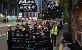 2019年10月13日、在日香港人らが東京でデモを開催、香港の抗議活動を応援した(盧勇/大紀元)