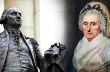 (L) Statue of George Washington (Shutterstock); (R) Portrait of Mary Ball (Public domain)