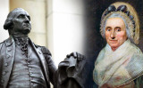 (L) Statue of George Washington (Shutterstock); (R) Portrait of Mary Ball (Public domain)