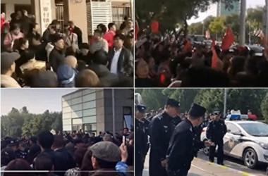 10月18日、北京市崔村鎮政府の前で住民たちが強制立ち退きに抗議した(抗議者が提供)