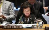 国連委員会では、新疆ウイグル自治区の監視と拘留を批判する声明が提出された。写真は英国カレン・ピアーズ国連大使、2018年9月撮影(Getty Images)