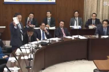 2019年11月、参議院委で中国人権問題を取り上げる山田宏議員(スクリーンショット)