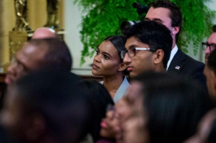2018年10月、米ホワイトハウスで開かれた、若手黒人リーダーシップサミットに参加するBLEXT運動創始者キャンディス・オーウェンズ氏(GettyImages)