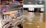 中国南部アモイで12月12日夜、地盤沈下による道路陥没が発生し、車2台が転落した。これにより、水道管が破裂し、地下鉄駅構内に大量の水が流入した(スクリーンショット)