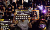 8月28日、香港で行われた、性暴力の停止を訴えるMeToo集会(大紀元)