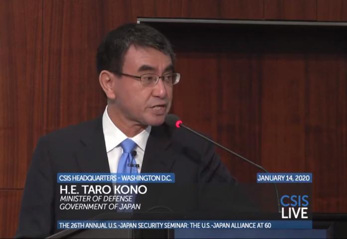 シンクタンク国際戦略問題研究所(CSIS)で講演した河野防衛相は、中国は武力を使い、尖閣諸島を奪取しようとしていると述べた(CSISスクリーンショット)
