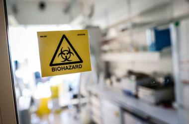 武漢海鮮市場から20キロの位置にある、高リスク病原体を取り扱うレベル4研究所から、漏れ出た可能性があるという。写真は1月29日、新型コロナウイルスの解析を行うフランスの研究施設、参考写真(GettyImages)