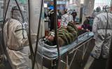 中国武漢市の紅十字会医院。写真は1月25日撮影(HECTOR RETAMAL/AFP via Getty Images)