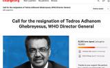 カナダ人ネットユーザーOsuka Yip氏が1月31日、オンライン署名サイト「change.org」でWHOのテドロス事務局長に対する辞職を求める署名活動を発起した(change.orgよりスクリーンショット)