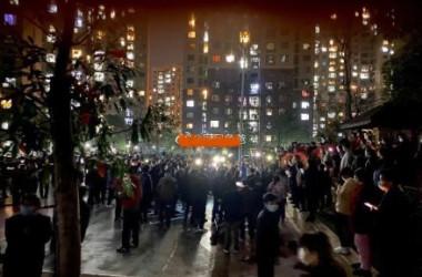 湖北省応城市の住民は3月12日夜、質の悪い野菜を高値で購入させられたとして抗議デモを行った(ネット写真)