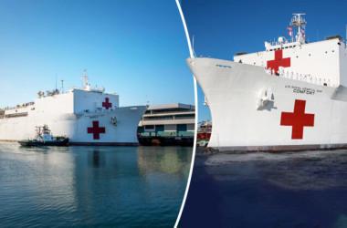 中共ウイルスの感染患者の急増で、米海軍病院船がロサンゼルスとニューヨークに到着し、医療活動を展開する(US Navy photo)