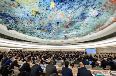 2020年2月、ジュネーブで開かれた、国連人権理事会の会場の模様(GettyImages)