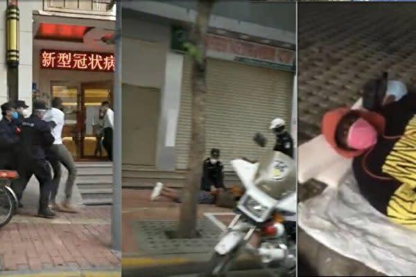 中国SNS上では、中国の警察当局がアフリカ人を拘束する様子が映った動画が投稿された。中にはアパートやホテルから退去させられ、路地で寝泊まりする人もいる(スクリーンショット)