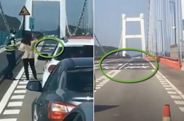 5月5日、中国広東省にある虎門大橋が上下に大きく揺れた(スクリーンショット)