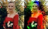 カメールさんの写真(左)及びスメドリさんの功能と技術よって処理して得られた肉眼でも見られるオーラつきの写真(右)(Courtesy of Jenny Smedley)