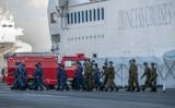2月、新型コロナウイルス感染が発生した大型クルーズ船「ダイヤモンド・プリンセス号」に対応するため、派遣された自衛隊(GettyImages)