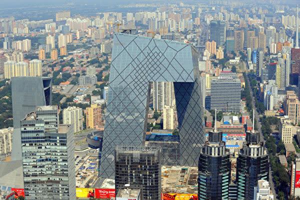 中国北京市にあるCGTN親会社である国営中央テレビ(CCTV)本部ビル(GOH CHAI HIN/AFP/Getty Images)