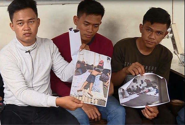 2019年2月、中国漁船で虐待されたと主張するインドネシア人漁船員。本文の2人ではなく、参考写真(AFP)