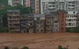 重慶市水文監測総站は6月22日、1940年以来初めて「洪水紅色警報」を発令した(スクリーンショット)