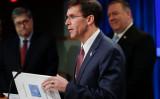 ファイブアイズの5カ国の防衛相は22日および23日にビデオ会議を行った。写真は、米国防長官マーク・エスパー氏(GettyImages)