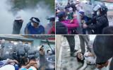 6月29日、中国北京市昌平区では、警官隊が強制立ち退きに抵抗する住民に催涙スプレーを噴射して鎮圧に乗り出した(スクリーンショット)