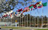 豪州キャンベラのバーリー・グリフィン湖の岸に飾られている万国旗(安平雅/大紀元)