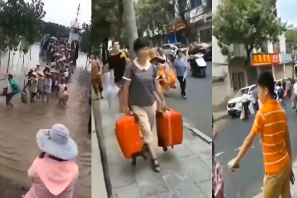 長江中下流域に位置する安徽省の安慶市など5つの市は7月14日、長江の中州や沿岸部の市民に避難指示を出した(スクリーンショット)