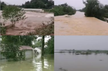 安徽省銅陵市に流れる長江の氾濫で堤防が決壊し、村などが浸水被害を受けた(村民が提供)