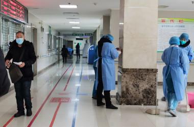 2020年2月、武漢市内の病院で撮影、参考写真(GettyImages)