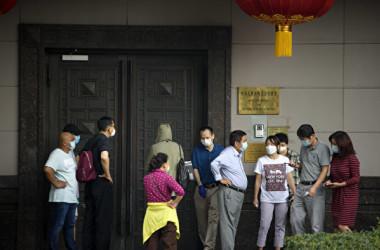 米政府は7月22日、在ヒューストン中国総領事館に対して閉鎖を命じた(MARK FELIX/AFP /AFP via Getty Images)