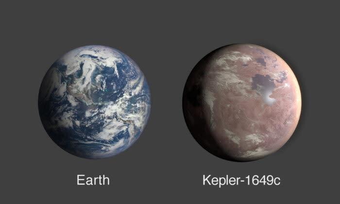地球と地球の1.06倍の大きさの太陽系外惑星である Kepler-1649cの比較(NASA/エイムズ研究センター/ダニエル・ラター)