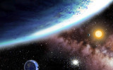 新たに発見された惑星、「ケプラー62e」 と「ケプラー62f」のコンセプト画 提供元:ハーバード・スミソニアン天体物理学センター/日付なし (AP Photo/Harvard Smithsonian Center for Asrophysics)