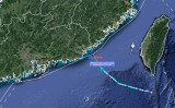 北京大学の研究調査機関「南海戦略態勢感知計画(SCSPI)」によると、8月5日夜、米軍機は広東省まで59.27海里のところまで近づいた(SCSPIツイッターより)