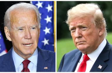 2020年8月13日、デラウェア州ウィルミントンで記者に話す民主党大統領候補のジョー・バイデン氏(左)  (Mandel Ngan/AFP via Getty Images)。2018年6月27日、ホワイトハウスのサウスローンでマリン・ワンに搭乗する時のドナルド・トランプ大統領 (右) (Samira Bouaou/The Epoch Times)