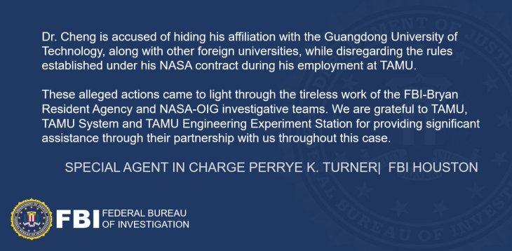 米連邦捜査局(FBI)は、テキサスA&M大学に所属していた中国系研究員を虚偽申告と詐欺容疑で逮捕した。中国政府の高度人材獲得計画に加わっていた(FBIスクリーンショット)