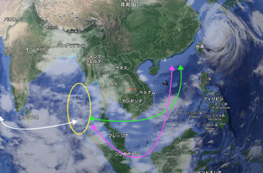 インド洋のシーレーン。ピンクはマラッカ海峡を通るルート、黄緑はクラ運河構想の場合のルート。黄色はインドが開発を発表したアンダマン・ニコバル諸島(大紀元作成)