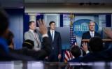 9月4日、ホワイトハウスで記者会見を開くロバート・オブライエン大統領補佐官(安全保障担当)(GettyImages)
