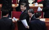 2016年3月3日習近平氏と王岐山氏が共産党政治協商会議の開幕式に出席した(Lintao Zhang/Getty Images)