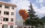 中国の「長征4号B型」ロケットブースターが山岳地帯の学校付近に落下した可能性がある(動画スクリーンショット)