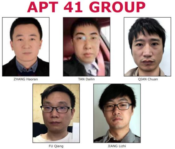 米FBIと司法省が公開した中国のハッカー組織「APT41」メンバーの5人(FBI)